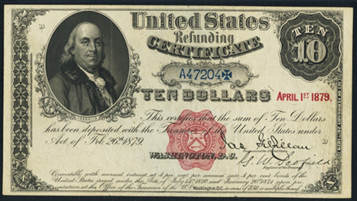1879 $10 Refunding Certificates Value – How much is 1879 $10 Bill Worth?