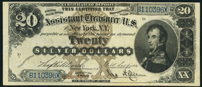 1880 $20 Silver Certificate Value – How much is 1880 $20 Bill Worth?