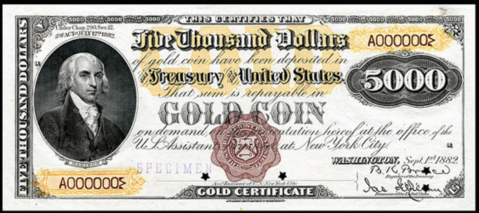 1882 $5000 Gold Certificate Value – How much is 1882 $5000 Bill Worth?