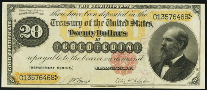 1882 $20 Gold Certificate Value – How much is 1882 $20 Bill Worth?