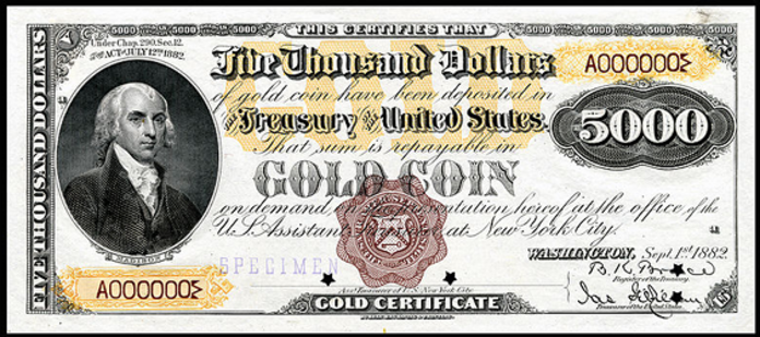 1888 $5000 Gold Certificate Value – How much is 1888 $5000 Bill Worth?