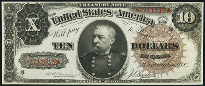 1890 $10 Treasury Note Value – How much is 1890 $10 Bill Worth?
