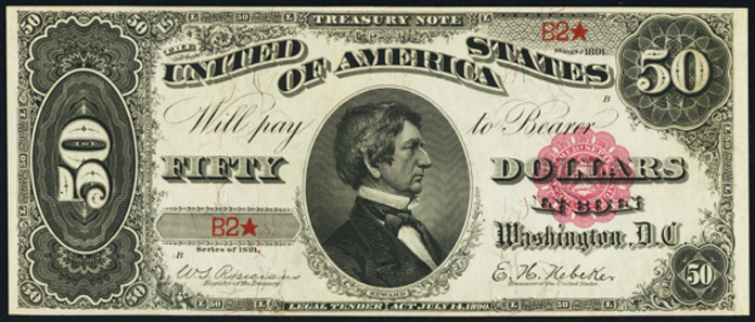 1891 $50 Treasury Note Value – How much is 1891 $50 Bill Worth?