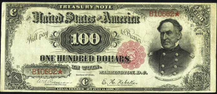 1891 $100 Treasury Note Value – How much is 1891 $100 Bill Worth?