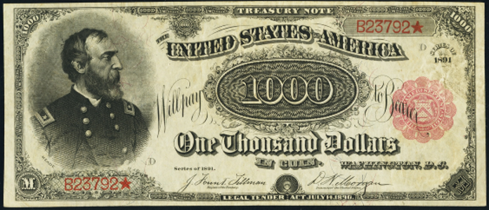 1891 $1000 Treasury Note Value – How much is 1891 $1000 Bill Worth?