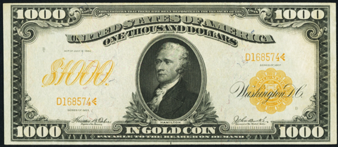 1907 $1000 Gold Certificate Value – How much is 1907 $1000 Bill Worth?