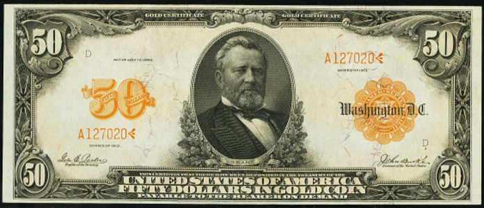 1913 $50 Gold Certificate Value – How much is 1913 $50 Bill Worth?