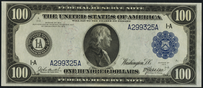 1914 $100 Blue Seal Federal Reserve Note Value – How much is 1914 $100 Bill Worth?