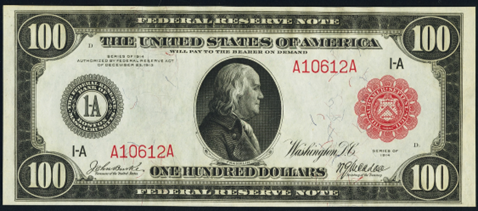 1914 $100 Red Seal Federal Reserve Note Value – How much is 1914 $100 Bill Worth?