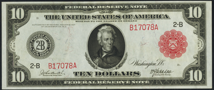 1914 $10 Red Seal Federal Reserve Note Value – How much is 1914 $10 Bill Worth?