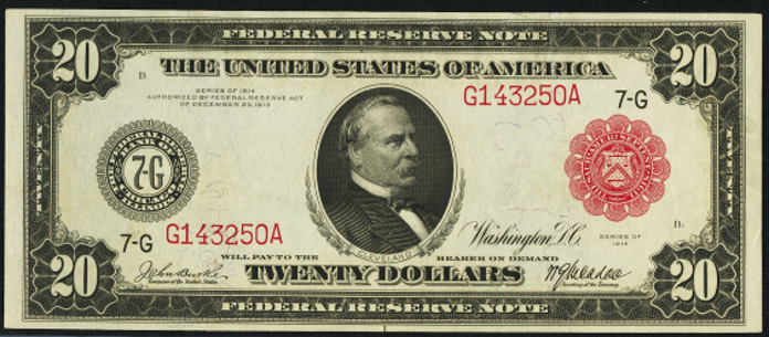 1914 $20 Red Seal Federal Reserve Note Value – How much is 1914 $20 Bill Worth?