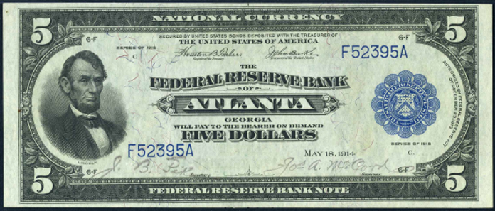 1915 $5 Federal Reserve Bank Note Value – How much is 1915 $5 Bill Worth?