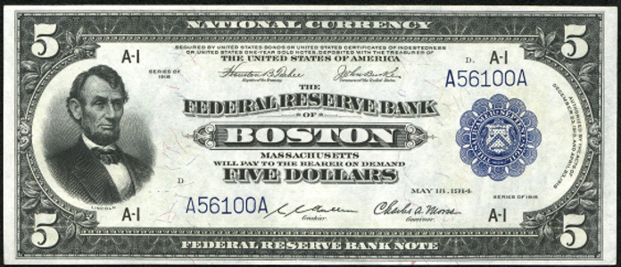 1918 $5 Federal Reserve Bank Note Value – How much is 1918 $5 Bill Worth?