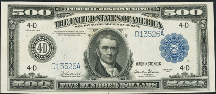 1918 $500 Federal Reserve Note Value – How much is 1918 $500 Bill Worth?