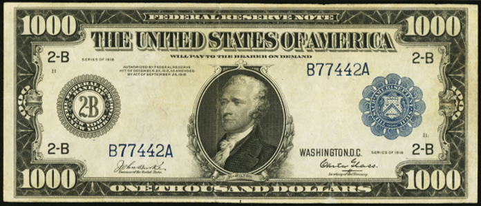 1918 $1000 Federal Reserve Note Value – How much is 1918 $1000 Bill Worth?