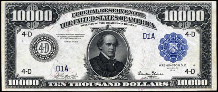 1918 $10000 Federal Reserve Note Value – How much is 1918 $10000 Bill Worth?