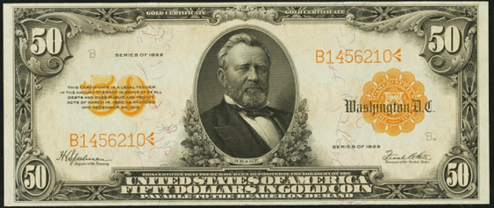 1922 $50 Gold Certificate Value – How much is 1922 $50 Bill Worth?