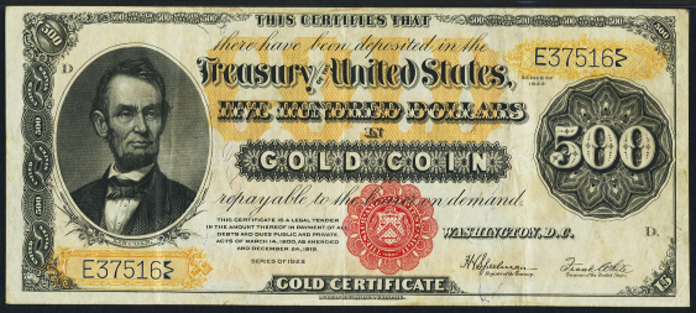 1922 $500 Gold Certificate Value – How much is 1922 $500 Bill Worth?