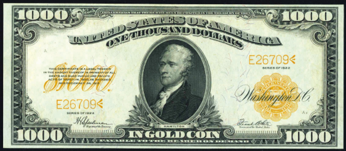 1922 $1000 Gold Certificate Value – How much is 1922 $1000 Bill Worth?
