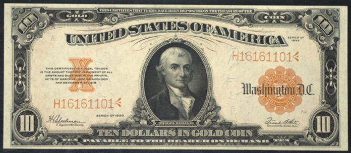 1922 $10 Gold Certificate Value – How much is 1922 $10 Bill Worth?