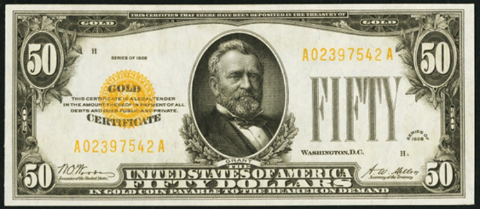 1928 $50 Gold Certificate Value – How much is 1928 $50 Bill Worth?