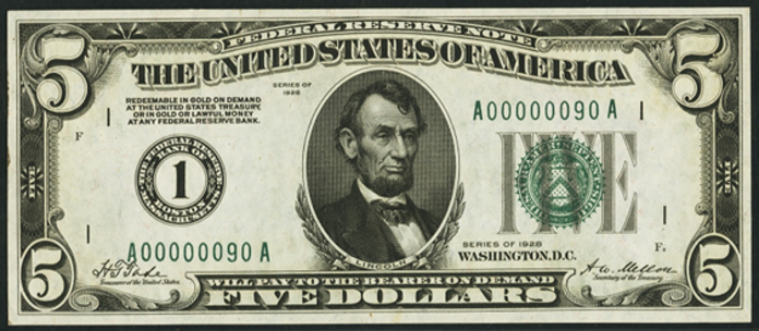 1928 $5 Federal Reserve Note Value – How much is 1928 $5 Bill Worth?