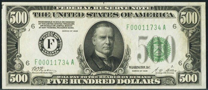 1928 $500 Federal Reserve Note Value – How much is 1928 $500 Bill Worth?