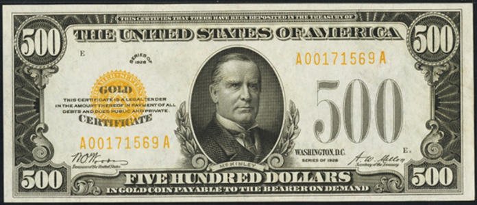 1928 $500 Gold Certificate Value – How much is 1928 $500 Bill Worth?