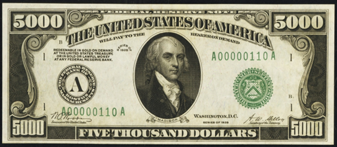 1928 $5000 Federal Reserve Note Value – How much is 1928 $5000 Bill Worth?