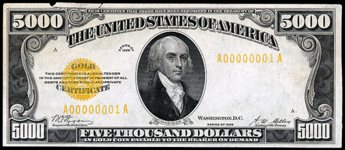 1928 $5000 Gold Certificate Value – How much is 1928 $5000 Bill Worth?