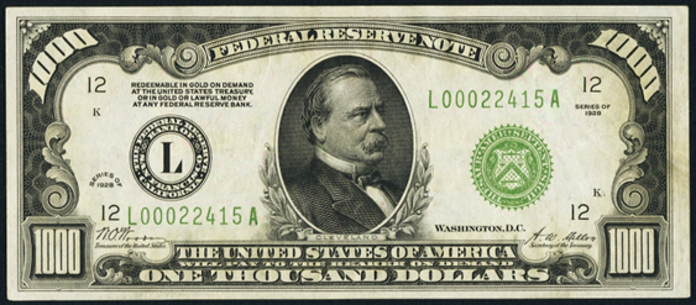 1928 $1000 Federal Reserve Note Value – How much is 1928 $1000 Bill Worth?