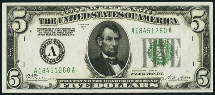 1928B $5 Federal Reserve Note Value – How much is 1928B $5 Bill Worth?