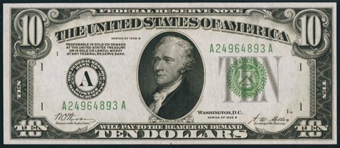 1928B $10 Federal Reserve Note Value – How much is 1928B $10 Bill Worth?