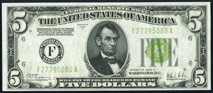 1928C $5 Federal Reserve Note Value – How much is 1928C $5 Bill Worth?