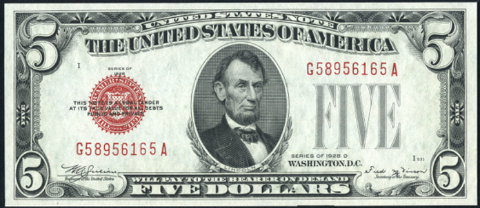 1928D $5 Legal Tender Value – How much is 1928D $5 Bill Worth?