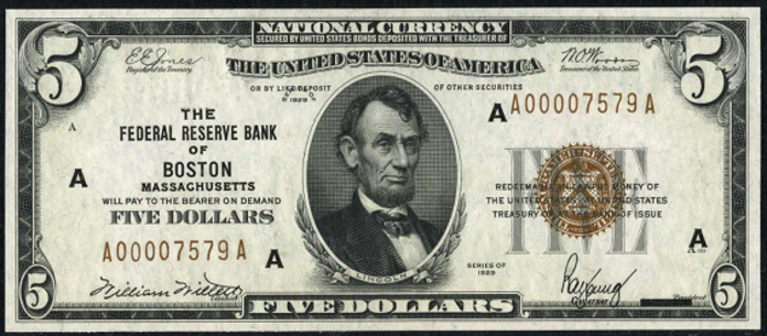 1929 $5 Federal Reserve Bank Note Value – How much is 1929 $5 Bill Worth?
