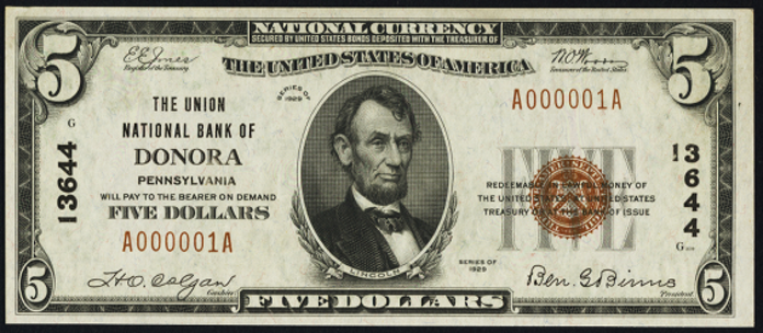 1929 $5 Bill Value – How Much Is 1929 Athens National Bank of Athens Texas $5 Worth?