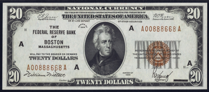 1929 $20 Federal Reserve Bank Note Value – How much is 1929 $20 Bill Worth?
