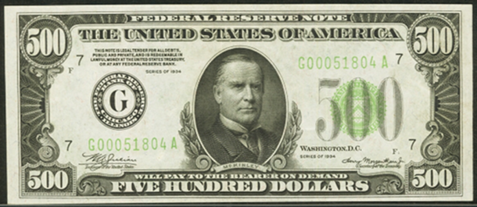 1934 $500 Federal Reserve Note Value – How much is 1934 $500 Bill Worth?
