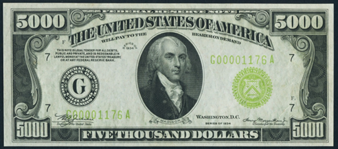 1934 $5000 Federal Reserve Note Value – How much is 1934 $5000 Bill Worth?