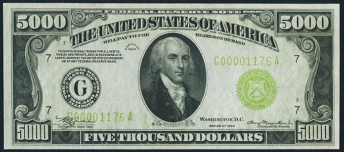 New 10000 Dollar Bill 1934 $5000 Federal Res...
