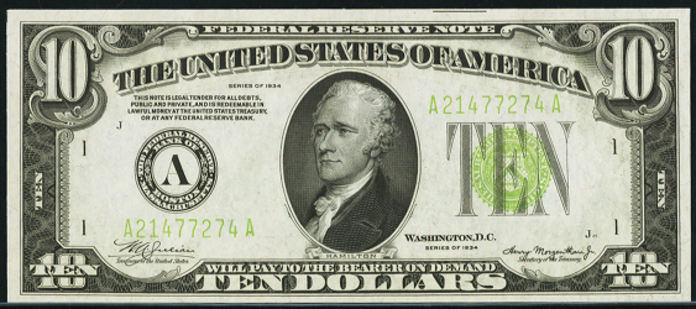 1934 $10 Federal Reserve Note Value – How much is 1934 $10 Bill Worth?