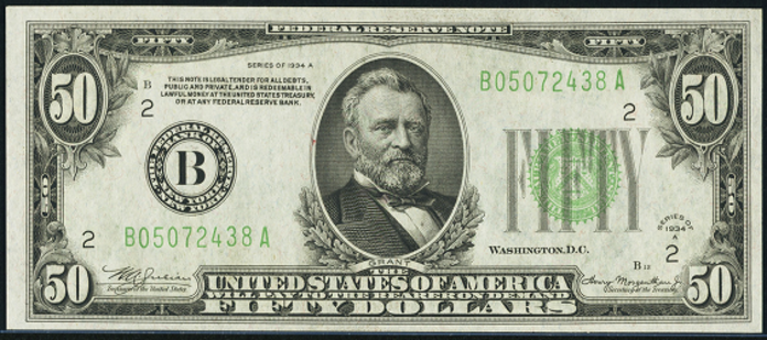 1934A $50 Federal Reserve Note Value – How much is 1934A $50 Bill Worth?