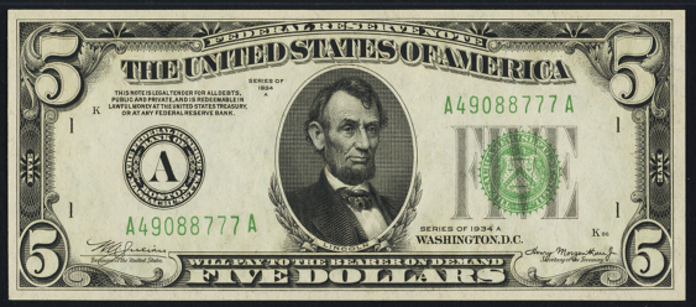 1934A $5 Federal Reserve Note Value – How much is 1934A $5 Bill Worth?