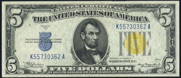 1934A $5 Yellow Seal Seal WW2 Value – How much is 1934A $5 Bill Worth?