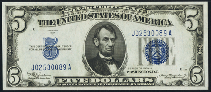 1934A $5 Silver Certificate Value – How much is 1934A $5 Bill Worth?