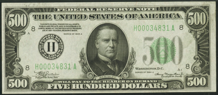 1934A $500 Federal Reserve Note Value – How much is 1934A $500 Bill Worth?