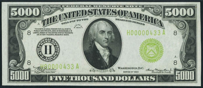 1934A $5000 Federal Reserve Note Value – How much is 1934A $5000 Bill Worth?