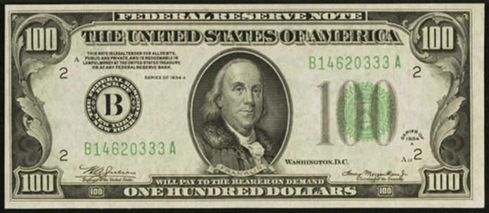 1934A $100 Federal Reserve Note Value – How much is 1934A $100 Bill Worth?