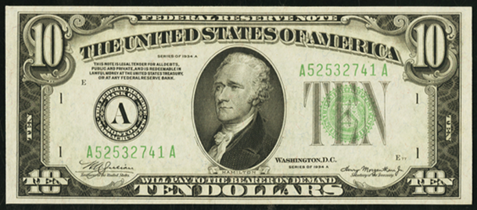 1934A $10 Federal Reserve Note Value – How much is 1934A $10 Bill Worth?